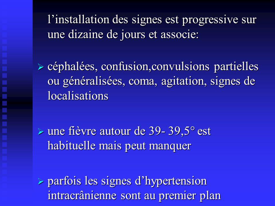 linstallation des signes est progressive sur une dizaine de jours et associe: céphalées, confusion,convulsions partielles ou généralisées, coma, agita