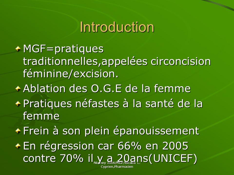 Niamey 2006/MGF/Bicaba L.Cyprien,Pharmacien I.Rappels A.G.E.