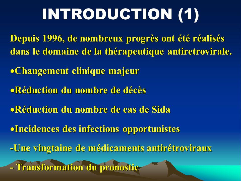 Depuis 1996, de nombreux progrès ont été réalisés dans le domaine de la thérapeutique antiretrovirale. Changement clinique majeur Changement clinique