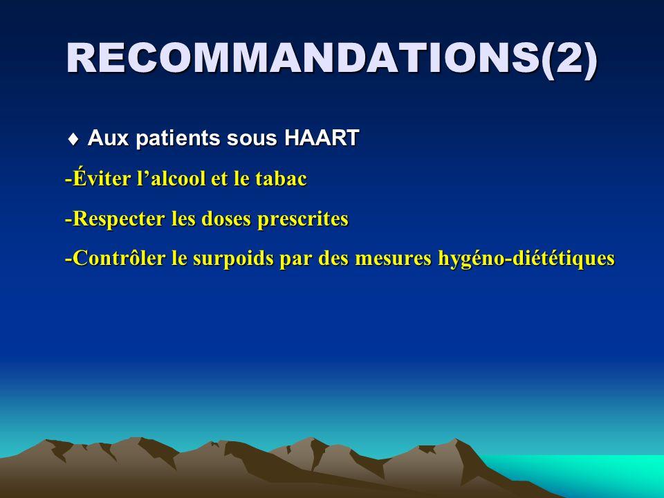 RECOMMANDATIONS(2) Aux patients sous HAART Aux patients sous HAART -Éviter lalcool et le tabac -Éviter lalcool et le tabac -Respecter les doses prescrites -Respecter les doses prescrites -Contrôler le surpoids par des mesures hygéno-diététiques -Contrôler le surpoids par des mesures hygéno-diététiques