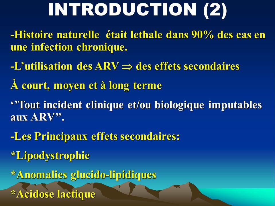 -Histoire naturelle était lethale dans 90% des cas en une infection chronique. -Lutilisation des ARV des effets secondaires À court, moyen et à long t