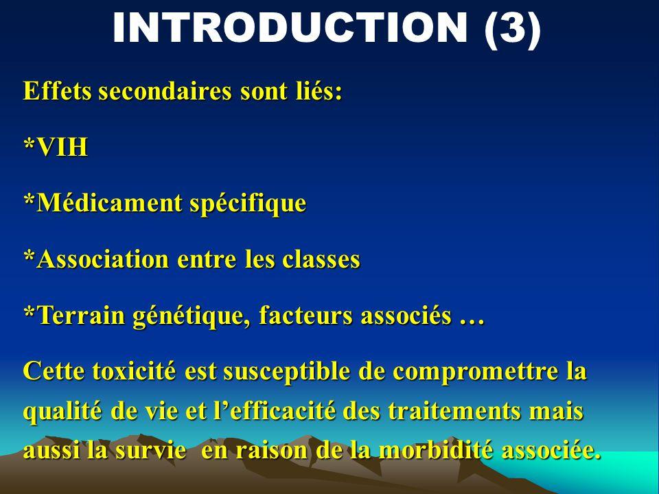 Effets secondaires sont liés: *VIH *Médicament spécifique *Association entre les classes *Terrain génétique, facteurs associés … Cette toxicité est su