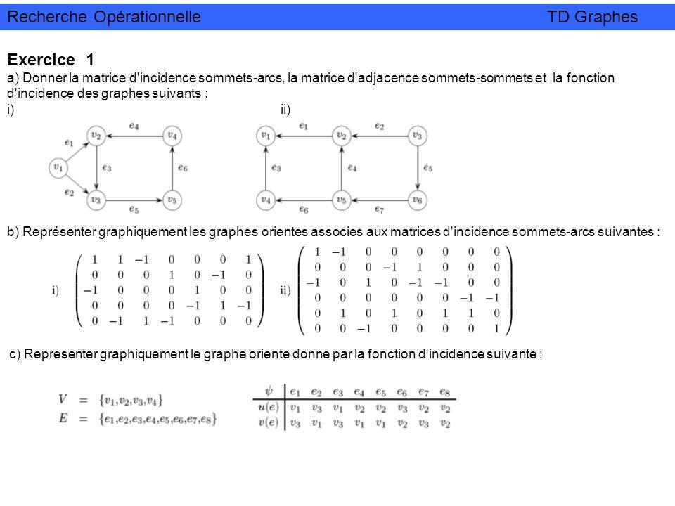 Exercice 1 a) Donner la matrice d'incidence sommets-arcs, la matrice d'adjacence sommets-sommets et la fonction d'incidence des graphes suivants : i)