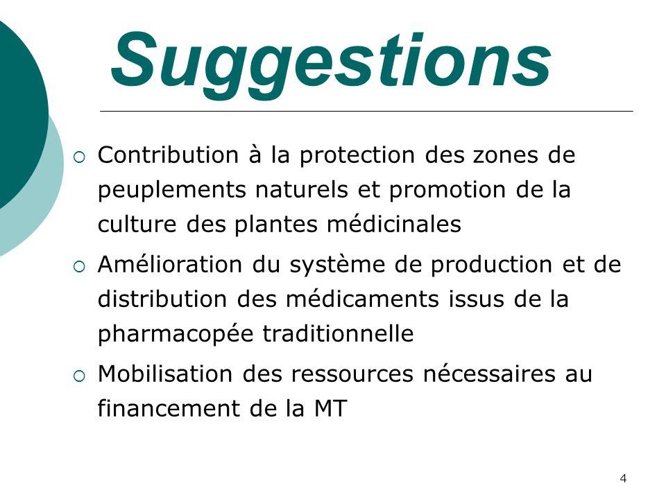 4 Suggestions Contribution à la protection des zones de peuplements naturels et promotion de la culture des plantes médicinales Amélioration du système de production et de distribution des médicaments issus de la pharmacopée traditionnelle Mobilisation des ressources nécessaires au financement de la MT