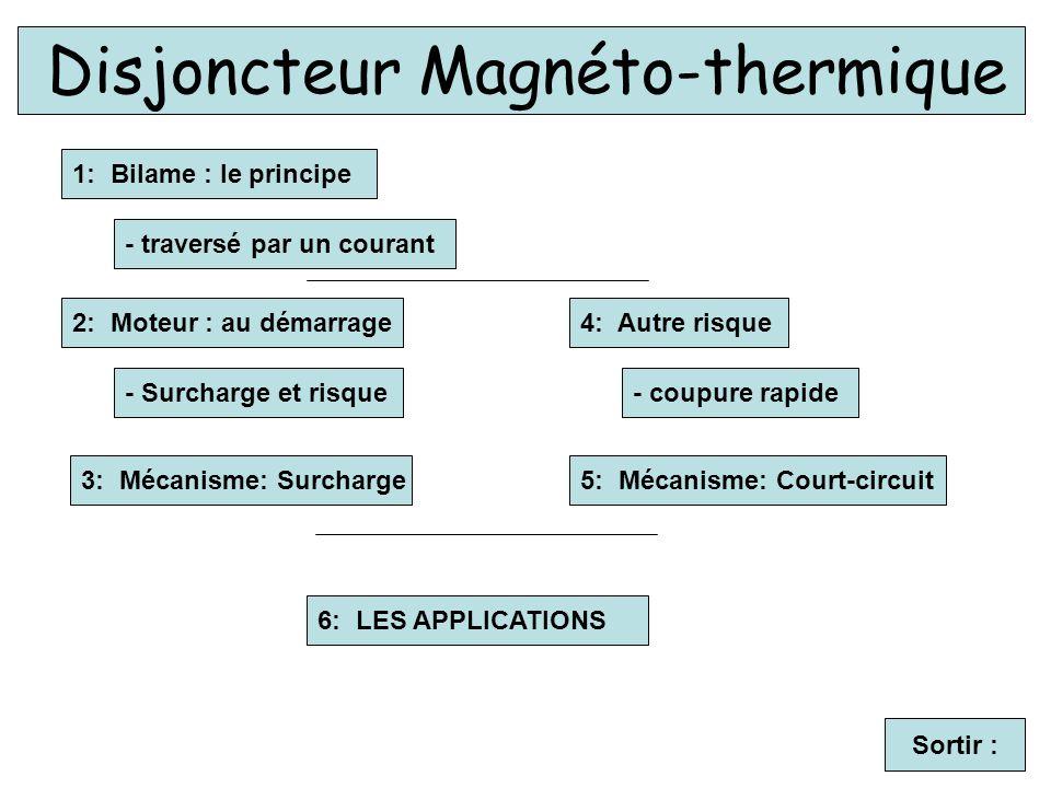 1: Bilame : le principe Disjoncteur Magnéto-thermique - traversé par un courant Sortir : 2: Moteur : au démarrage - Surcharge et risque 3: Mécanisme: Surcharge 4: Autre risque - coupure rapide 5: Mécanisme: Court-circuit 6: LES APPLICATIONS