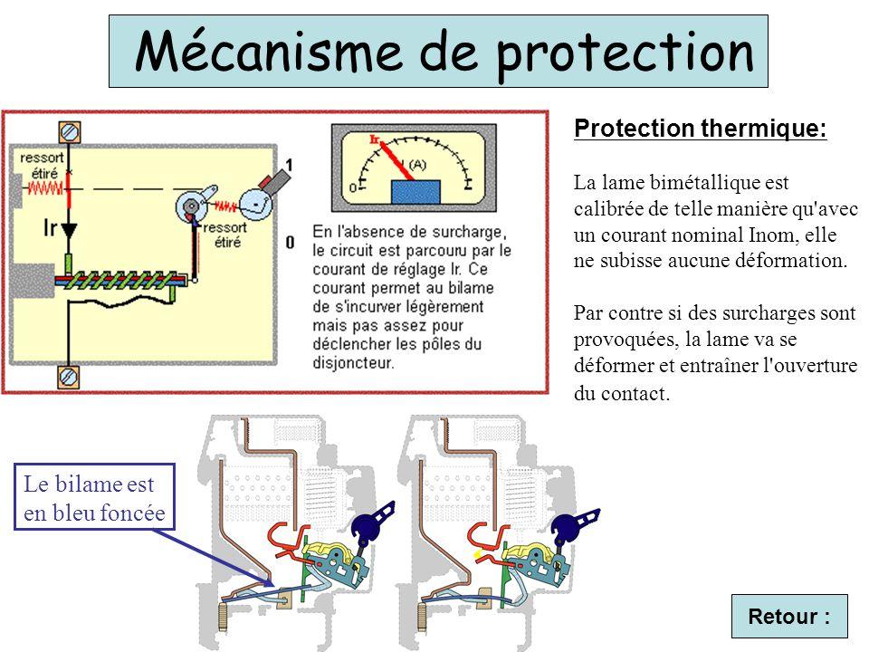 Mécanisme de protection Le bilame est en bleu foncée Protection thermique: La lame bimétallique est calibrée de telle manière qu'avec un courant nomin