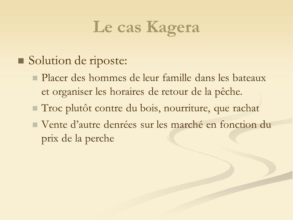 Le cas Kagera Solution de riposte: Placer des hommes de leur famille dans les bateaux et organiser les horaires de retour de la pêche. Troc plutôt con