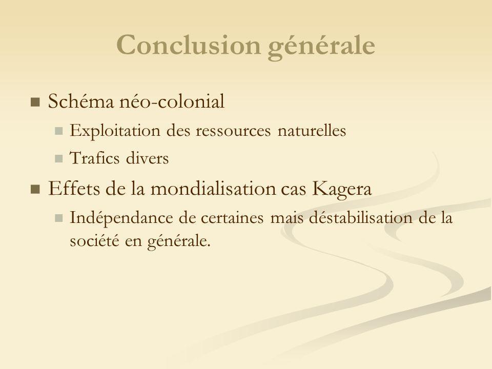Conclusion générale Schéma néo-colonial Exploitation des ressources naturelles Trafics divers Effets de la mondialisation cas Kagera Indépendance de certaines mais déstabilisation de la société en générale.
