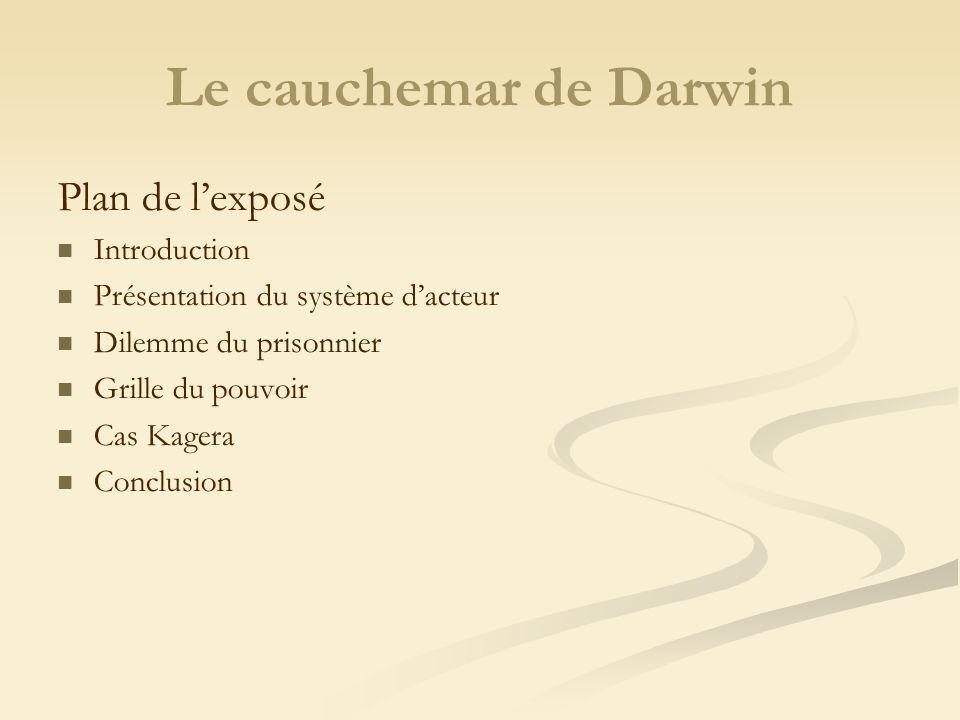 Le cauchemar de Darwin Plan de lexposé Introduction Présentation du système dacteur Dilemme du prisonnier Grille du pouvoir Cas Kagera Conclusion