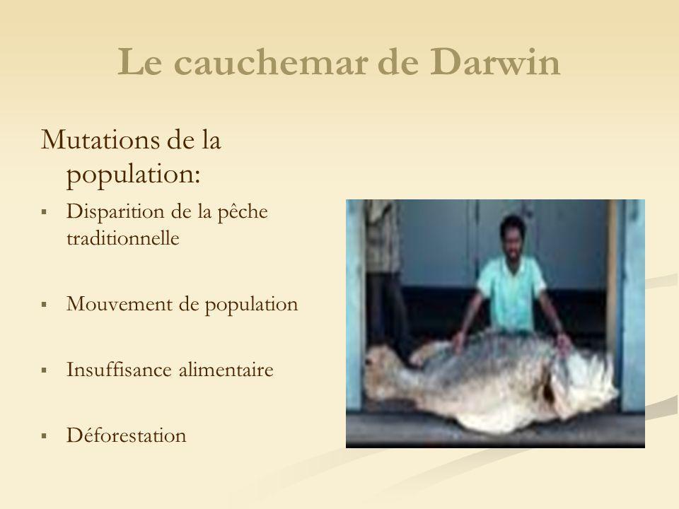 Mutations de la population: Disparition de la pêche traditionnelle Mouvement de population Insuffisance alimentaire Déforestation