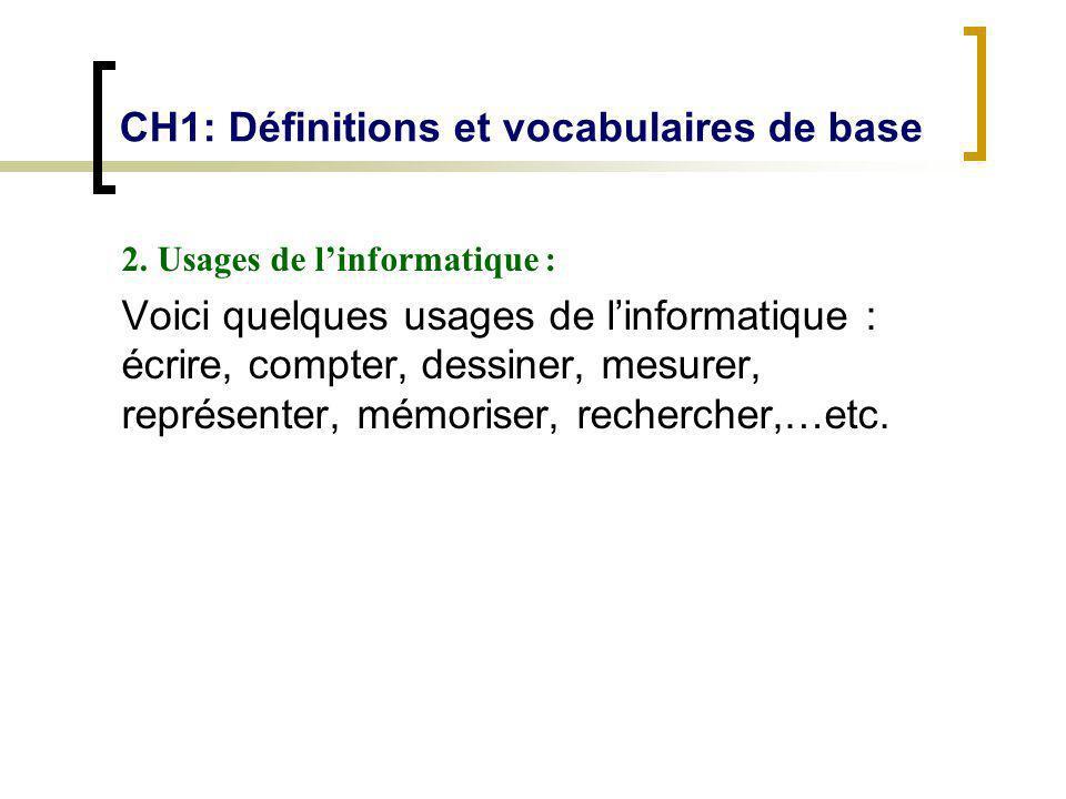 CH1: Définitions et vocabulaires de base 2. Usages de linformatique : Voici quelques usages de linformatique : écrire, compter, dessiner, mesurer, rep