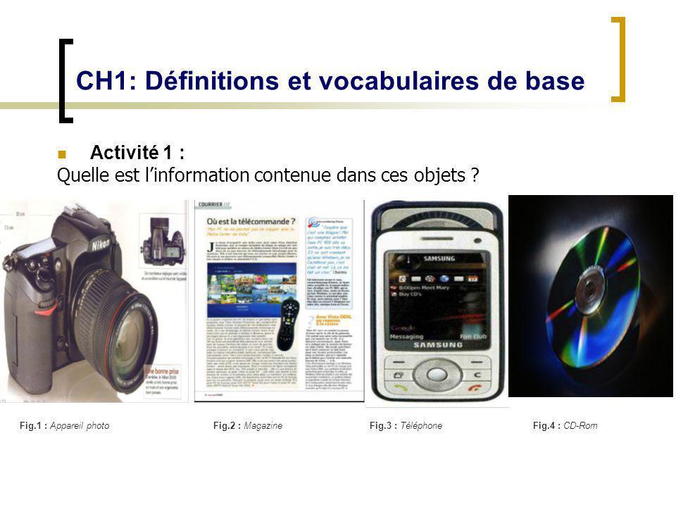 CH1: Définitions et vocabulaires de base Activité 1 : Quelle est linformation contenue dans ces objets ? Fig.1 : Appareil photoFig.2 : MagazineFig.3 :
