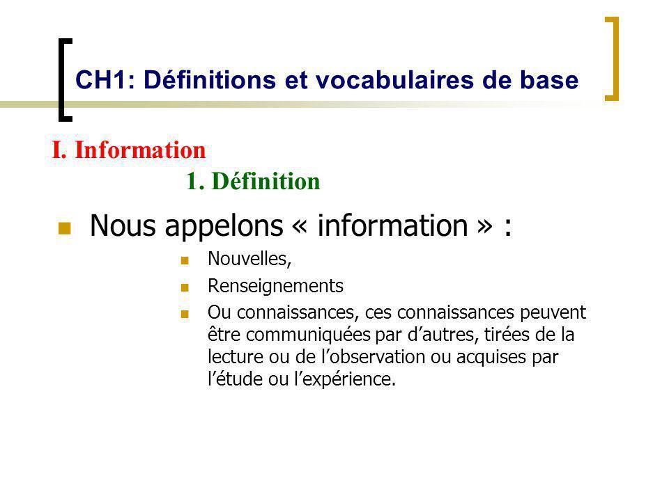 CH1: Définitions et vocabulaires de base Nous appelons « information » : Nouvelles, Renseignements Ou connaissances, ces connaissances peuvent être co