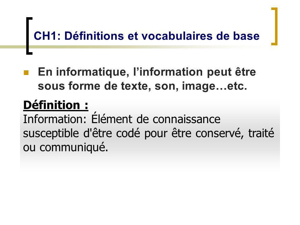 CH1: Définitions et vocabulaires de base En informatique, linformation peut être sous forme de texte, son, image…etc. Définition : Information: Élémen