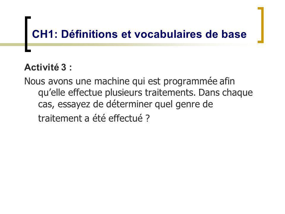 CH1: Définitions et vocabulaires de base Activité 3 : Nous avons une machine qui est programmée afin quelle effectue plusieurs traitements. Dans chaqu