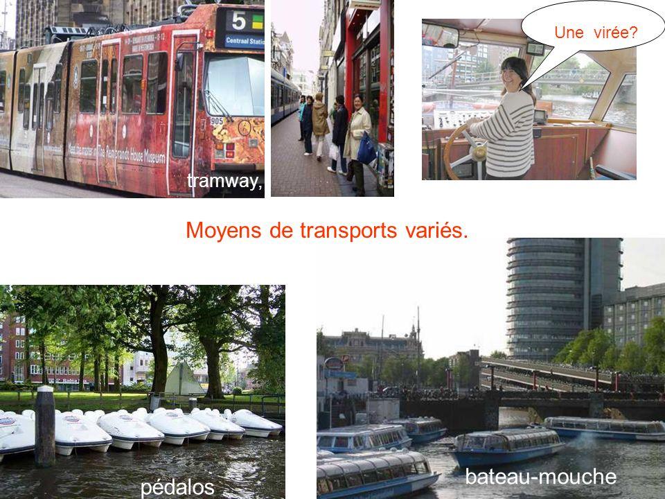 Moyens de transports variés. tramway, pédalos bateau-mouche Une virée