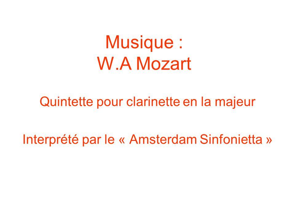 Musique : W.A Mozart Quintette pour clarinette en la majeur Interprété par le « Amsterdam Sinfonietta »