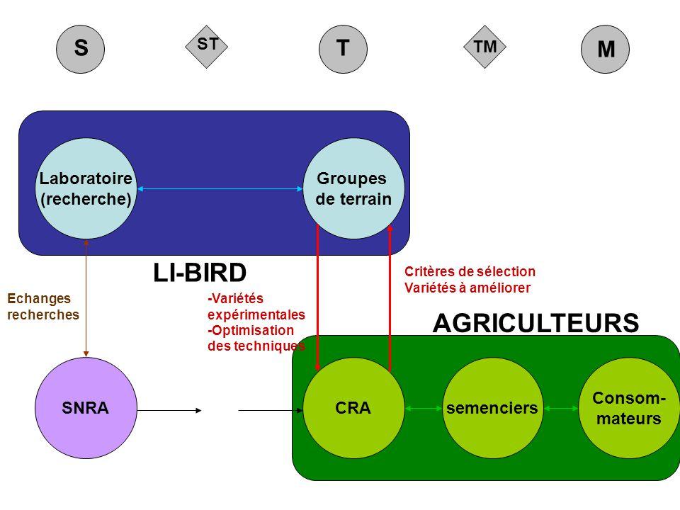 TM ST M ST LI-BIRD AGRICULTEURS Groupes de terrain Laboratoire (recherche) CRAsemenciers Consom- mateurs SNRA Critères de sélection Variétés à amélior