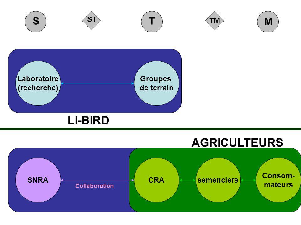 TM ST M ST LI-BIRD AGRICULTEURS Groupes de terrain Laboratoire (recherche) CRAsemenciers Consom- mateurs SNRA Collaboration