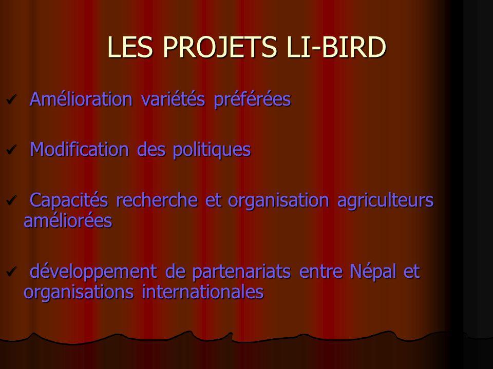 LES PROJETS LI-BIRD Amélioration variétés préférées Amélioration variétés préférées Modification des politiques Modification des politiques Capacités