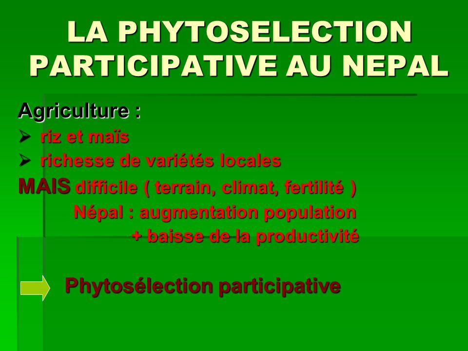 La Phytosélection participative Phytosélection : Phytosélection : amélioration ressources phytogénétiques des plantes amélioration ressources phytogénétiques des plantes pb : variétés non adaptés Participative : Participative : Agriculteurs = acteurs + bénéficiaires Agriculteurs = acteurs + bénéficiaires réponse à la demande