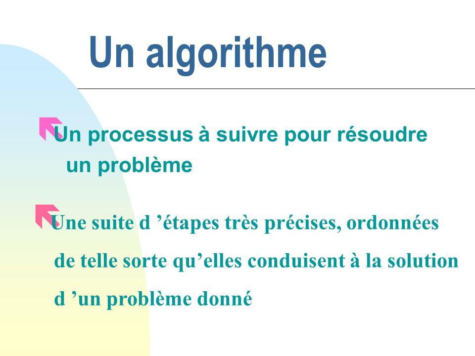 Un algorithme ë Un processus à suivre pour résoudre un problème ë Une suite d étapes très précises, ordonnées de telle sorte quelles conduisent à la s