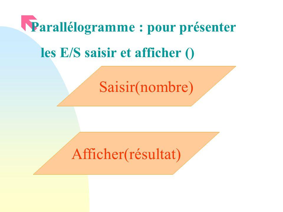ë Parallélogramme : pour présenter les E/S saisir et afficher () Saisir(nombre) Afficher(résultat)