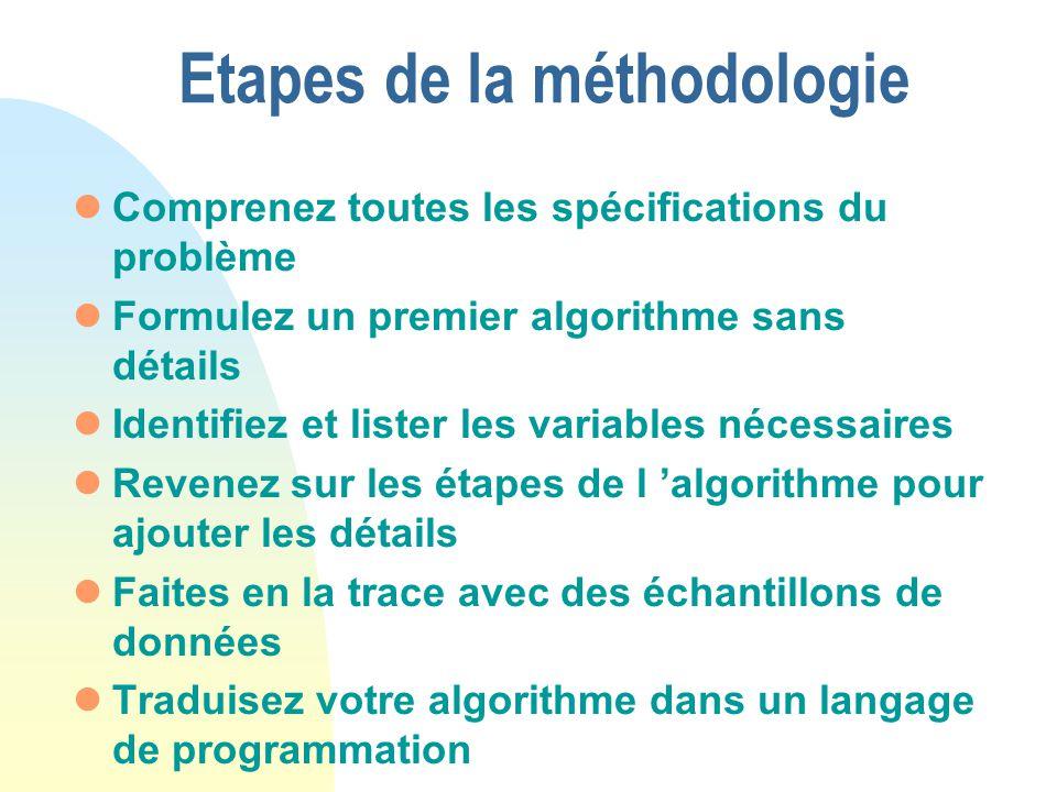 Etapes de la méthodologie lComprenez toutes les spécifications du problème lFormulez un premier algorithme sans détails lIdentifiez et lister les vari