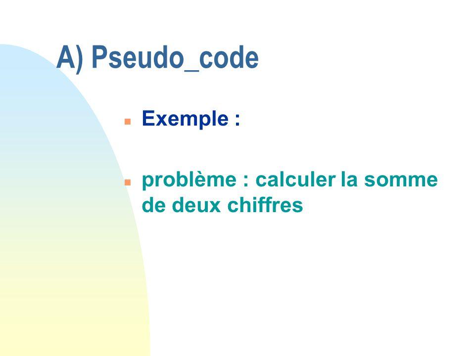 A) Pseudo_code n Exemple : n problème : calculer la somme de deux chiffres