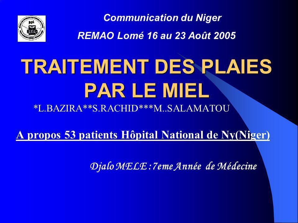 TRAITEMENT DES PLAIES PAR LE MIEL A propos 53 patients Hôpital National de Ny(Niger) Djalo MELE :7eme Année de Médecine *L.BAZIRA**S.RACHID***M..SALAM