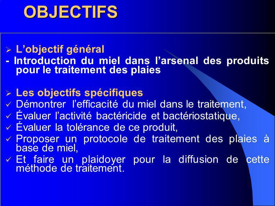 OBJECTIFS Lobjectif général - Introduction du miel dans larsenal des produits pour le traitement des plaies Les objectifs spécifiques Démontrer leffic