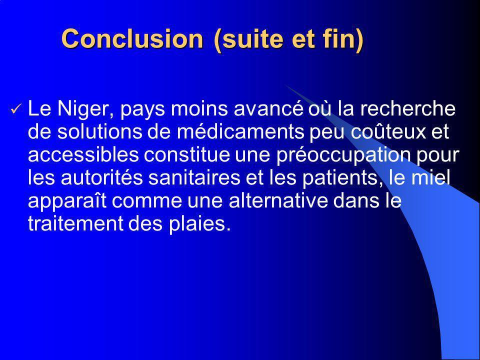 Conclusion (suite et fin) Le Niger, pays moins avancé où la recherche de solutions de médicaments peu coûteux et accessibles constitue une préoccupati