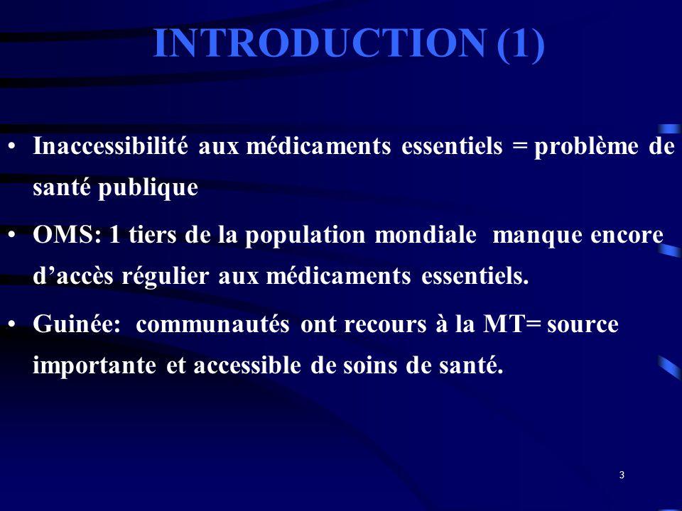 3 INTRODUCTION (1) Inaccessibilité aux médicaments essentiels = problème de santé publique OMS: 1 tiers de la population mondiale manque encore daccès