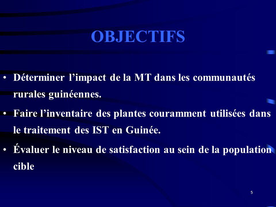 5 OBJECTIFS Déterminer limpact de la MT dans les communautés rurales guinéennes. Faire linventaire des plantes couramment utilisées dans le traitement