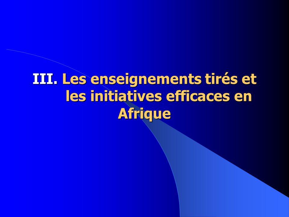 III. Les enseignements tirés et les initiatives efficaces en Afrique