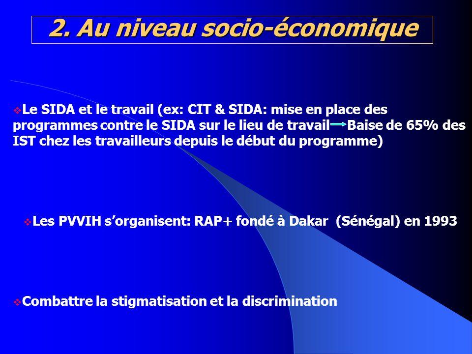 2. Au niveau socio-économique Le SIDA et le travail (ex: CIT & SIDA: mise en place des programmes contre le SIDA sur le lieu de travail Baise de 65% d