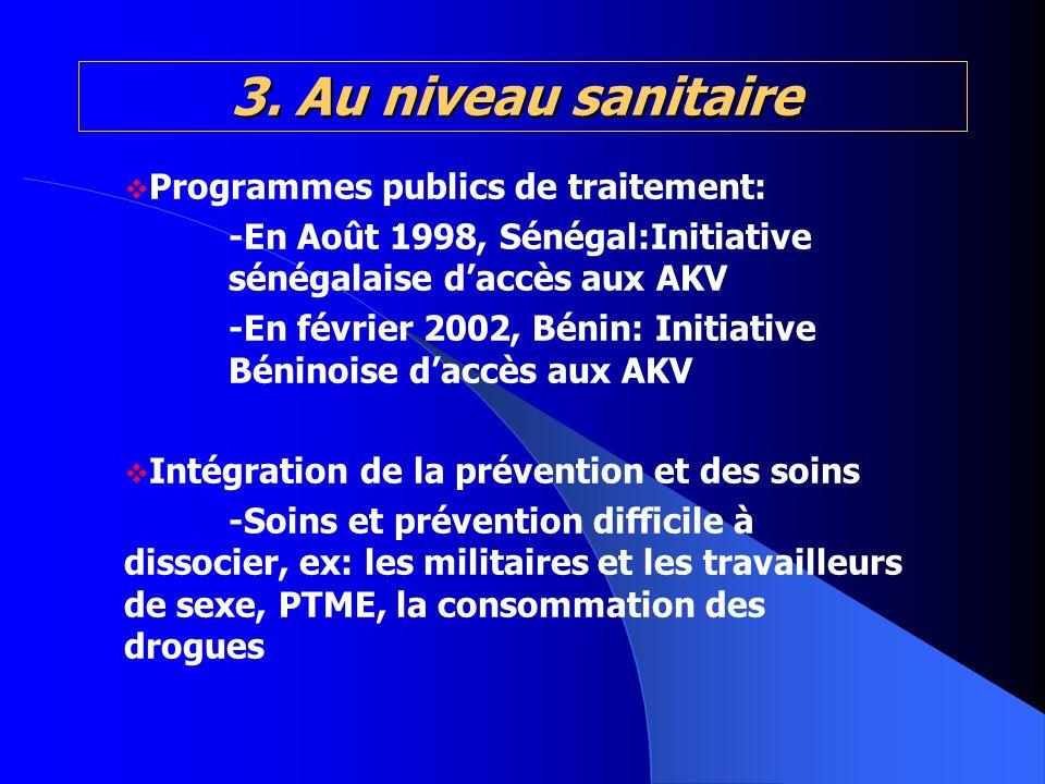3. Au niveau sanitaire 3. Au niveau sanitaire Programmes publics de traitement: -En Août 1998, Sénégal:Initiative sénégalaise daccès aux AKV -En févri