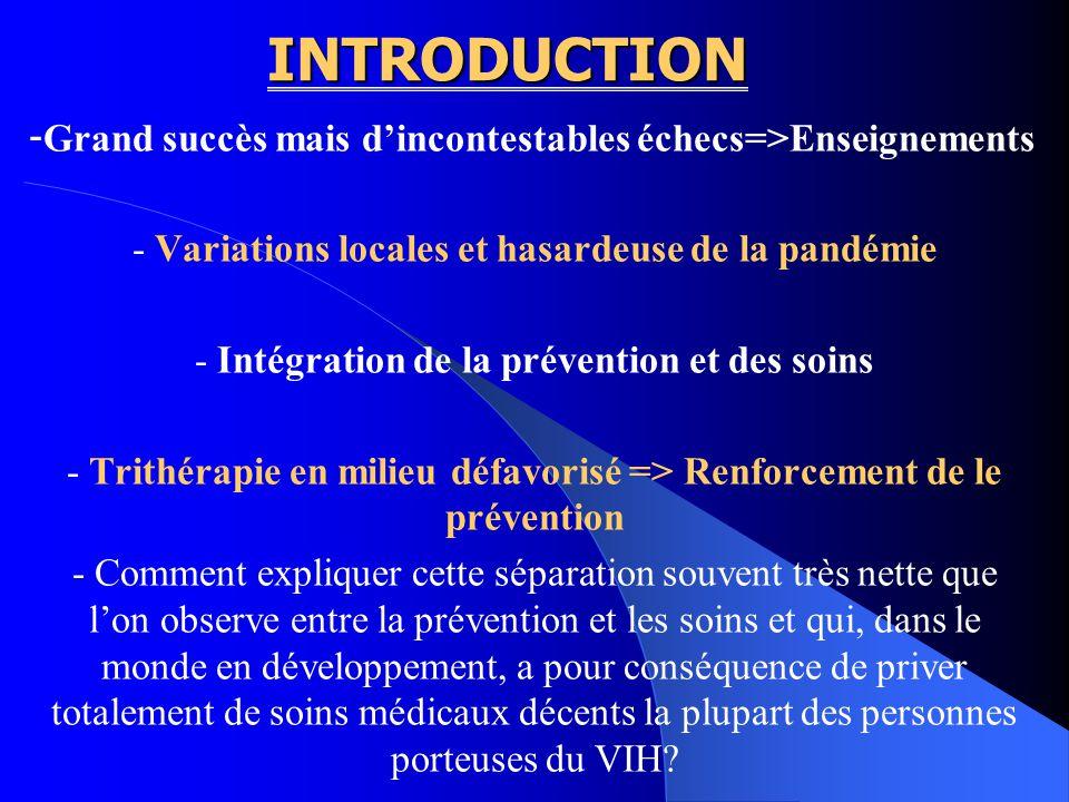 INTRODUCTION - Grand succès mais dincontestables échecs=>Enseignements - Variations locales et hasardeuse de la pandémie - Intégration de la préventio