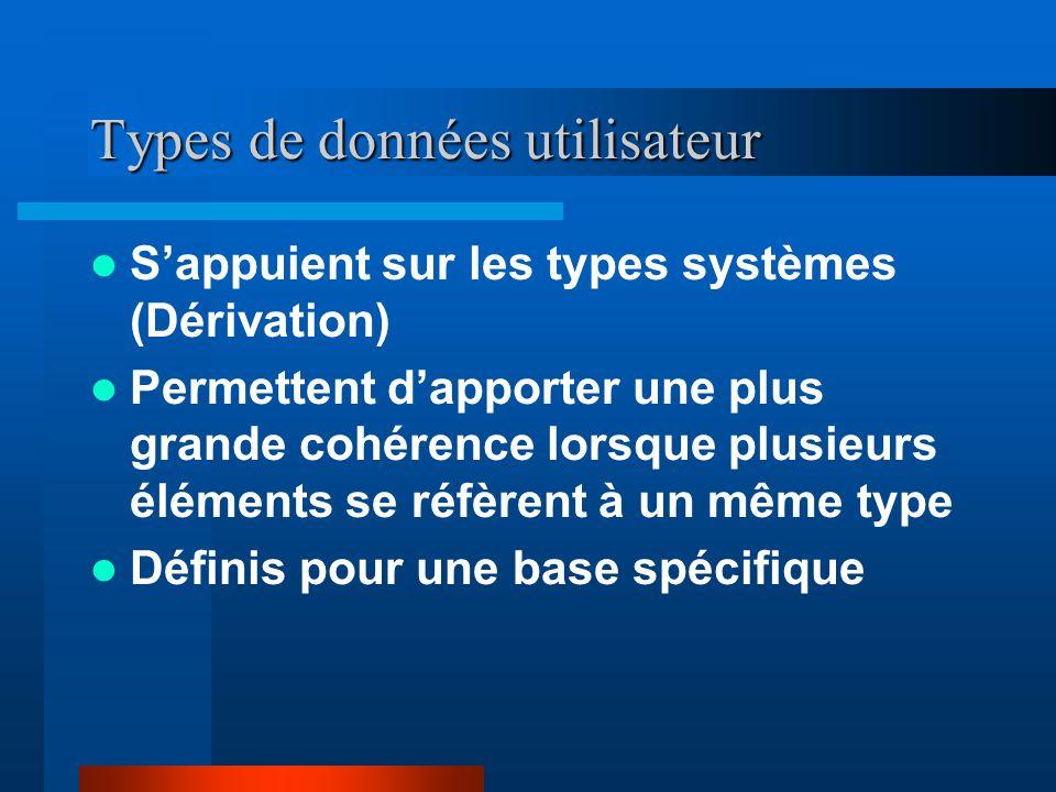 Types de données utilisateur Sappuient sur les types systèmes (Dérivation) Permettent dapporter une plus grande cohérence lorsque plusieurs éléments se réfèrent à un même type Définis pour une base spécifique