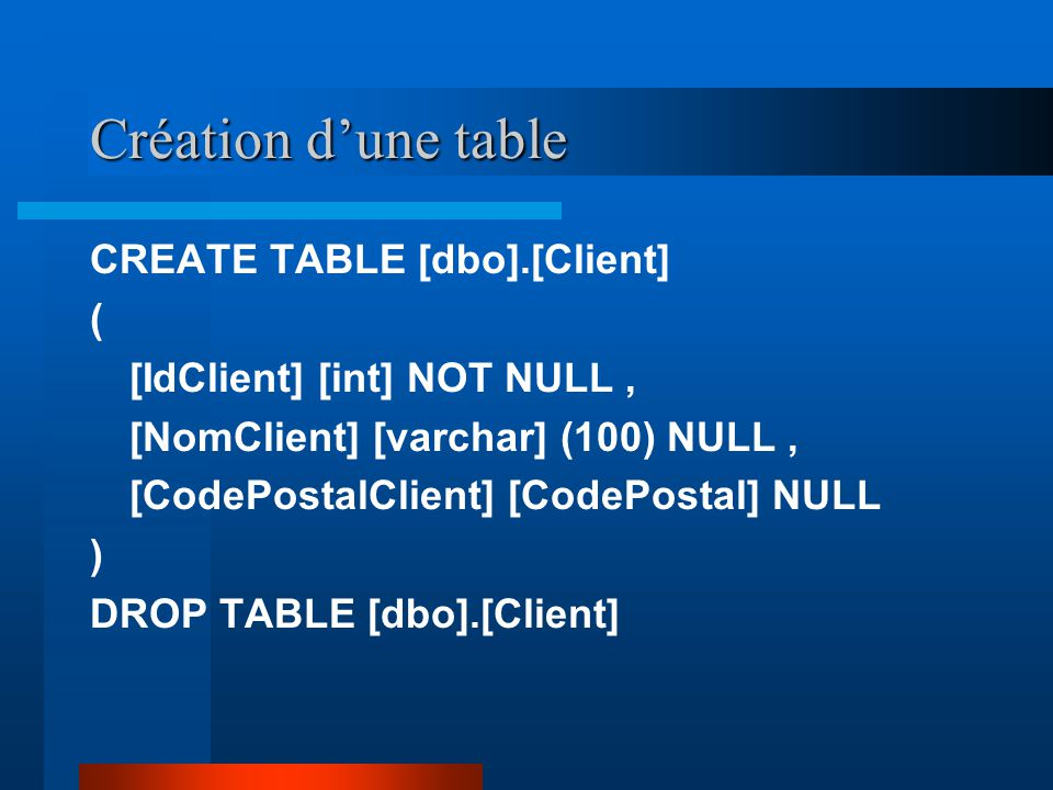 Création dune table CREATE TABLE [dbo].[Client] ( [IdClient] [int] NOT NULL, [NomClient] [varchar] (100) NULL, [CodePostalClient] [CodePostal] NULL )