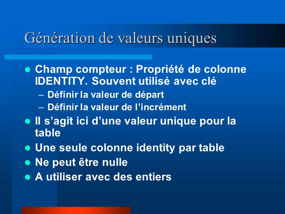 Génération de valeurs uniques Champ compteur : Propriété de colonne IDENTITY.