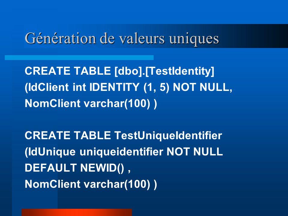 Génération de valeurs uniques CREATE TABLE [dbo].[TestIdentity] (IdClient int IDENTITY (1, 5) NOT NULL, NomClient varchar(100) ) CREATE TABLE TestUniqueIdentifier (IdUnique uniqueidentifier NOT NULL DEFAULT NEWID(), NomClient varchar(100) )