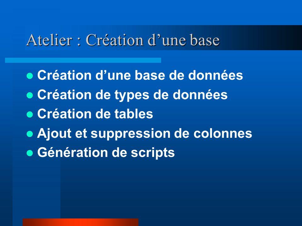 Atelier : Création dune base Création dune base de données Création de types de données Création de tables Ajout et suppression de colonnes Génération de scripts