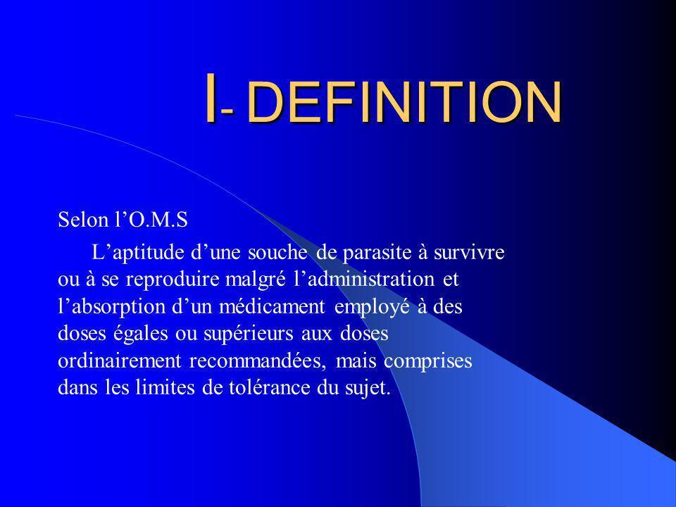 I - DEFINITION Selon lO.M.S Laptitude dune souche de parasite à survivre ou à se reproduire malgré ladministration et labsorption dun médicament emplo