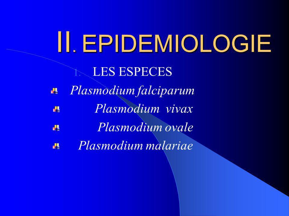 II. EPIDEMIOLOGIE 1. LES ESPECES Plasmodium falciparum Plasmodium vivax Plasmodium ovale Plasmodium malariae