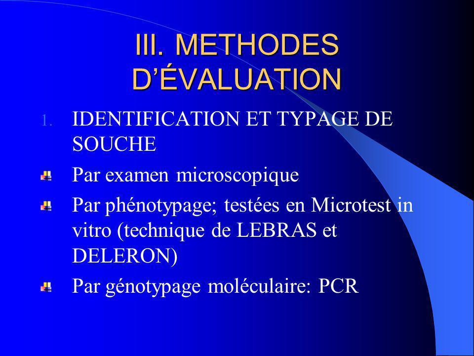 III. METHODES DÉVALUATION 1. IDENTIFICATION ET TYPAGE DE SOUCHE Par examen microscopique Par phénotypage; testées en Microtest in vitro (technique de