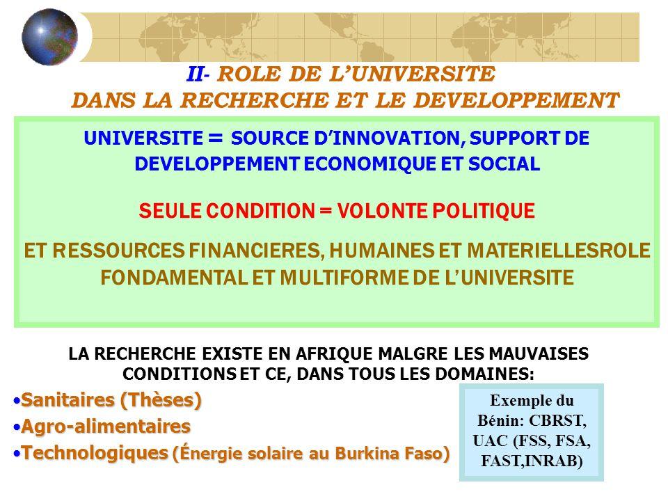 II- ROLE DE LUNIVERSITE DANS LA RECHERCHE ET LE DEVELOPPEMENT UNIVERSITE = SOURCE DINNOVATION, SUPPORT DE DEVELOPPEMENT ECONOMIQUE ET SOCIAL SEULE CONDITION = VOLONTE POLITIQUE ET RESSOURCES FINANCIERES, HUMAINES ET MATERIELLESROLE FONDAMENTAL ET MULTIFORME DE LUNIVERSITE LA RECHERCHE EXISTE EN AFRIQUE MALGRE LES MAUVAISES CONDITIONS ET CE, DANS TOUS LES DOMAINES: Sanitaires (Thèses)Sanitaires (Thèses) Agro-alimentairesAgro-alimentaires Technologiques (Énergie solaire au Burkina Faso)Technologiques (Énergie solaire au Burkina Faso) Exemple du Bénin: CBRST, UAC (FSS, FSA, FAST,INRAB)