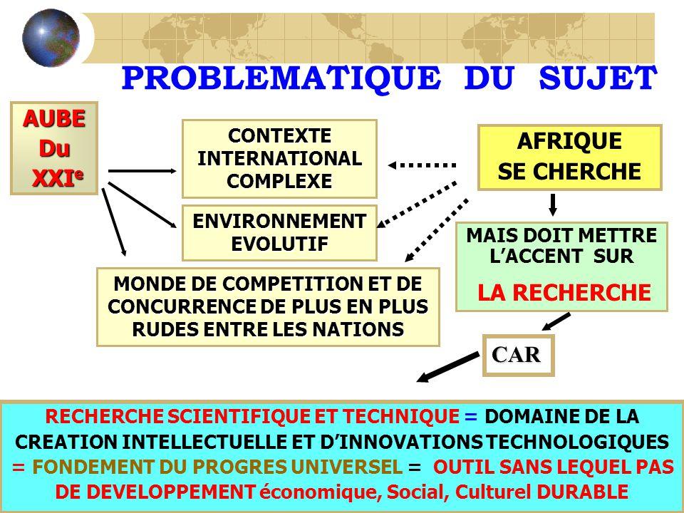 PROBLEMATIQUE DU SUJET AUBEDu XXI e XXI e MAIS DOIT METTRE LACCENT SUR LA RECHERCHE AFRIQUE SE CHERCHE CONTEXTE INTERNATIONAL COMPLEXE ENVIRONNEMENT EVOLUTIF MONDE DE COMPETITION ET DE CONCURRENCE DE PLUS EN PLUS RUDES ENTRE LES NATIONS CAR RECHERCHE SCIENTIFIQUE ET TECHNIQUE = DOMAINE DE LA CREATION INTELLECTUELLE ET DINNOVATIONS TECHNOLOGIQUES = FONDEMENT DU PROGRES UNIVERSEL = OUTIL SANS LEQUEL PAS DE DEVELOPPEMENT économique, Social, Culturel DURABLE