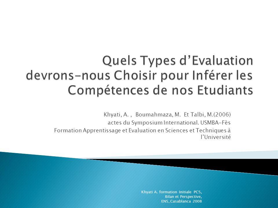 Khyati, A., Boumahmaza, M. Et Talbi, M.(2006) actes du Symposium International. USMBA-Fès Formation Apprentissage et Evaluation en Sciences et Techniq