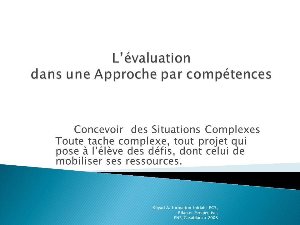 Concevoir des Situations Complexes Toute tache complexe, tout projet qui pose à lélève des défis, dont celui de mobiliser ses ressources. Khyati A. fo